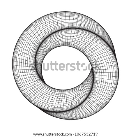 Mobius strip ring sacred geometry. Spatial figure with upturned surfaces. Optical illusion with dual circular contour. Wireframe low poly mesh vector illustration.