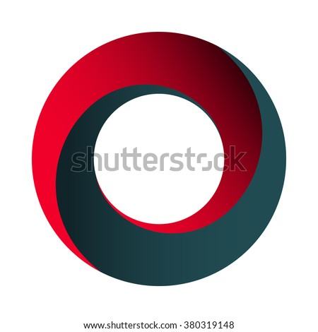 Mobius strip. Spatial figure with upturned surfaces. Optical illusion with dual circular contour. Logo symbolizing turnover, repeatability, recurrence. Vector illustration. Red and blue colors.
