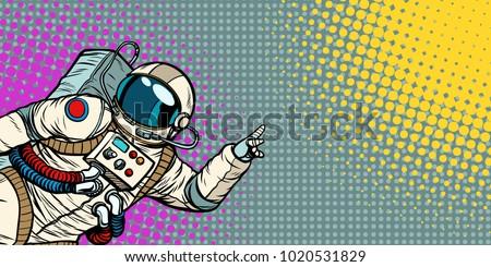 mocap male astronaut shows hand