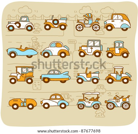 Mocha Series |  old cars,transportation,  automobile,  icon set - stock vector