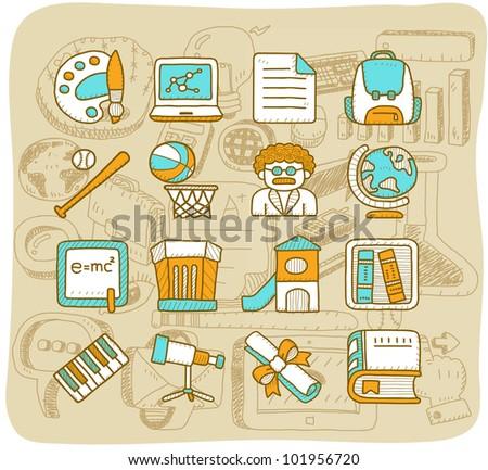 Mocha Series | School,education icon set - stock vector