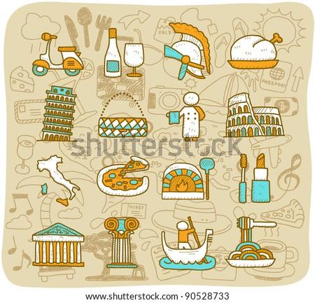 Mocha Series | travel,landmarks,Italy,Roma,europe icon. vector format. set - stock vector