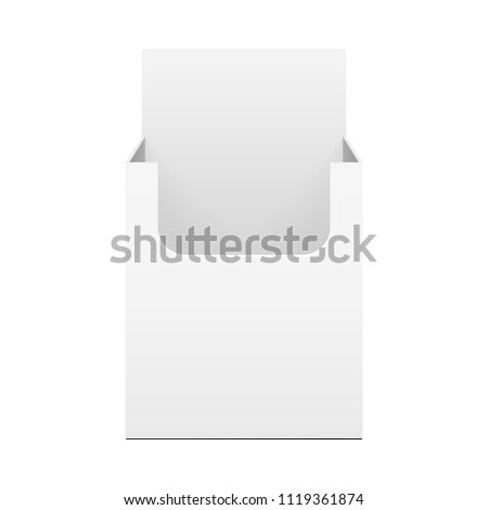 Mock Up Cardboard Blank Empty Display Show Box Holder. Fliers, Leaflets, Products. Front View. Illustration Isolated On White Background. Template Ready For Your Design. Vector EPS10
