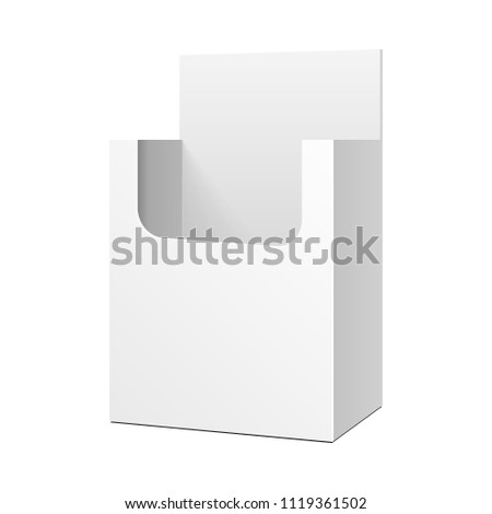Mock Up Cardboard Blank Empty Display Show Box Holder For Advertising Fliers, Leaflets, Products. Illustration Isolated On White Background. Template Ready For Your Design. Vector EPS10