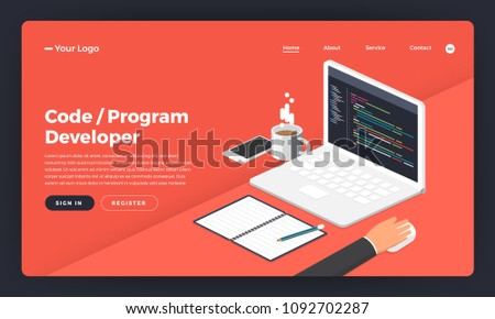 Mock-up design website flat design concept coding and programming developer.  Vector illustration.