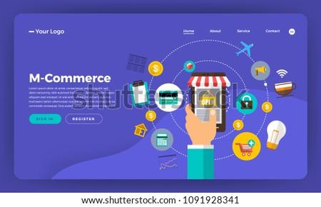 Mock-up design website flat design concept digital marketing. M-commerce mobile shopping.  Vector illustration.