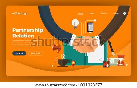 Mock-up design website flat design concept digital marketing. Partnership Relation.  Vector illustration. Foto stock ©