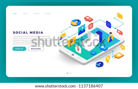 Mock-up design website flat design concept social media mobile application. Isometric vector illustration.