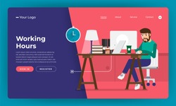 Mock-up design website flat design concept working hours worker in office place.  Vector illustration.