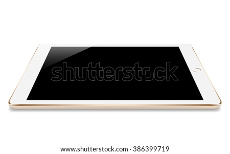 mock up gold tablet similar to ipades style perspective angle isolated on white vector design