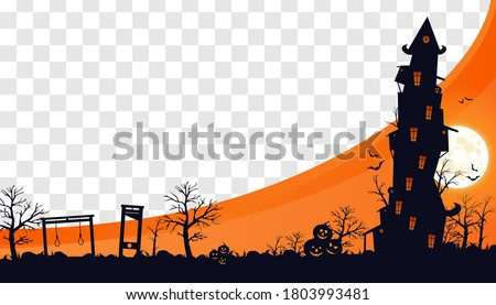 Mock Up Halloween 2020. City panorama in halloween style. Scary halloween isolated background. Orange and yellow background. Vector illustration.