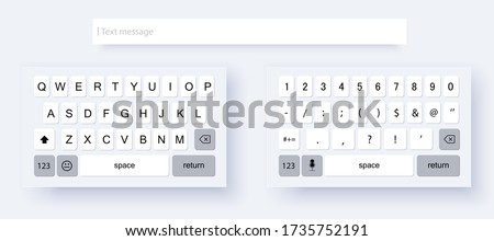 Mock up light keyboard of smartphone. Set of vector mobile keyboards full set. Alphabet and numerals buttons in modern style. Compact virtual keyboard for mobile device.  Vector illustration