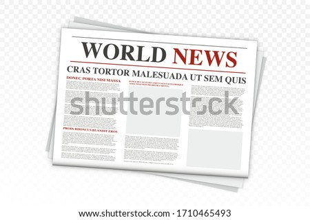 Mock up of a blank daily newspaper. Realistic Vector mock up of black and white newspaper. Newspaper with location for copy space. Newspaper template with world news economy business headlines