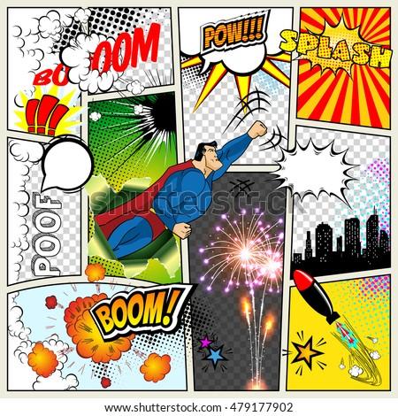 stock vector mock up of a typical comic book page vector comics pop art superhero concept blank layout template 479177902 - Каталог — Фотообои «Для детской»