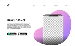 mock up of smartphone for download app website landing page concept template