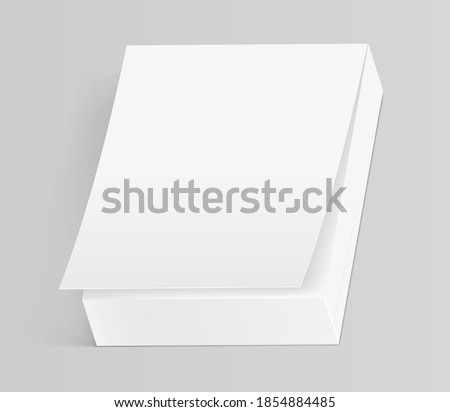 Mock up of tear off notebook or calendar isolated on gray background. 3d realistic mockup of blank paper book for tearing. Vector illustration stock photo