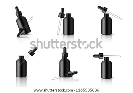 Mock up Realistic Black Dropper or Pipette Bottle for Essential Oil Or Skincare Serum Background Illustration