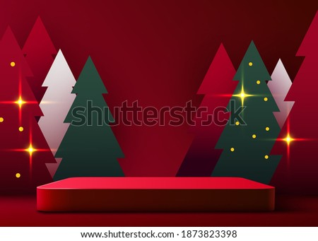 Mock up scene. Podium shape for show cosmetic product display. stage pedestal or platform. Winter Christmas red background with tree xmas. Vector illustration
