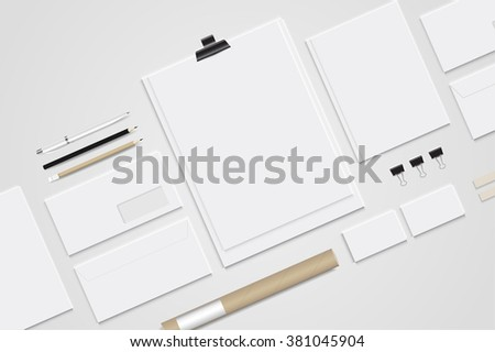 Mock up set business brand template of stationery. vector design