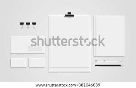Mock up set business brand template of stationery. vector design