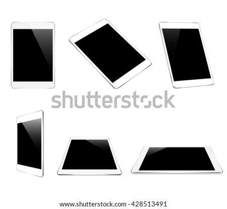 mock up white tablet isolated on white vector design