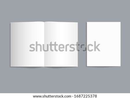 Mockup bifold brochure. White paper flyer with shadow isolated. Blank card menu. Magazine cover with mock-up bi-fold catalog. a4, a3, a5 leaflet for presentation, catalog, invitation, booklet. Vector.