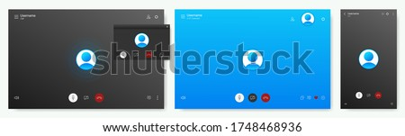 Mockup Call Screen for PC or smartphone. UI, UX, KIT app interface. Layout screens. Application for calls and video communications. Call screen mockup. Vector App template set