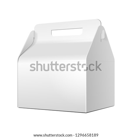 Mockup Cardboard Carry Packaging Box For Fast Food Meal, Candy, Cookies, Gift Or Other Products. Illustration Isolated On White Background. Mock Up Template Ready For Your Design. Vector EPS10