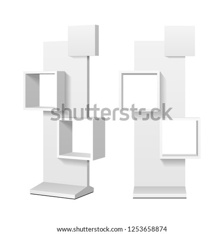 Mockup Cardboard Retail Display Stand Floor Rack Shelves For Supermarket Blank Empty. 3D Illustration Isolated On White Background. Mock Up Template Ready For Your Design. Vector EPS10