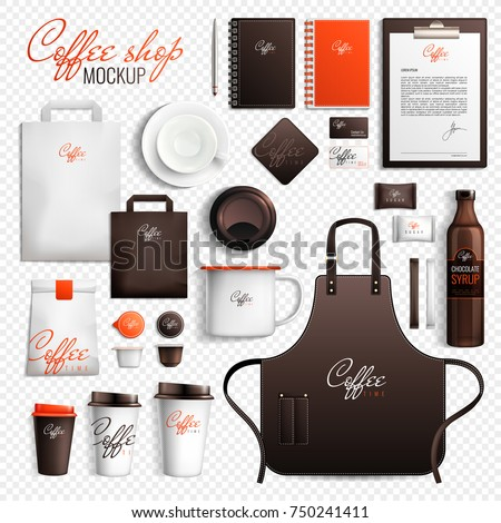 Mockup coffee shop design branding elements set on transparent background with isolated images of merchandise items vector illustration