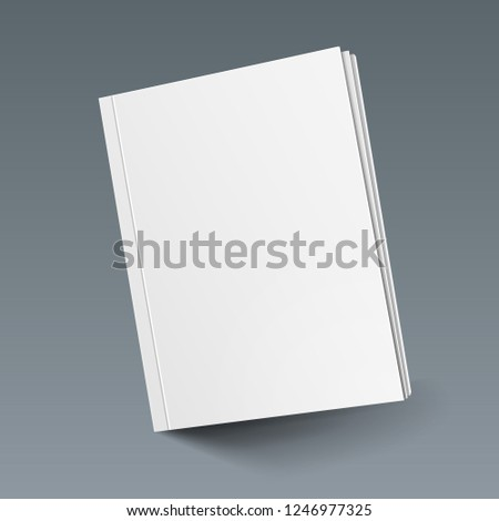 Mockup Cover Magazine, Book, Booklet, Brochure. Illustration Isolated On Gray Background. Blank Mock Up Template Ready For Your Design. Vector EPS10