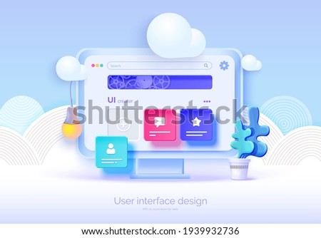 Mockup 3D monitor with user interface elements for web design Software creator. User interface, user experience design. A set of tools for creating UI UX. Web development. Vector illustration 3D style