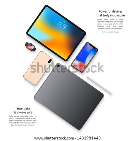 mockup devices: smartphones, tablets and smart watch top view on white background. stock vector illustration eps10