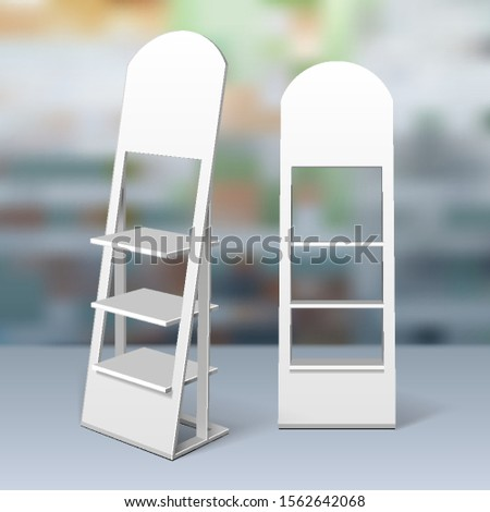 Mockup Floor Display Rack For Supermarket. Blank Empty Displays With Shelves. 3D Mock Up, Template. Illustration On Realistic Background Shop, Mall. Vector EPS10