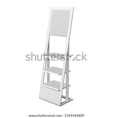 Mockup Floor Display Rack For Supermarket. Blank Empty Displays With Shelves. 3D Mock Up, Template Isolated On White Background. Ready For Your Design. Product Advertising. Vector EPS10
