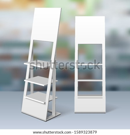Mockup Floor Display Rack For Supermarket. Blank Empty Displays With Shelves. 3D Mock Up, Template Isolated On Realistic Background Shop, Mall. Product Advertising. Vector EPS10