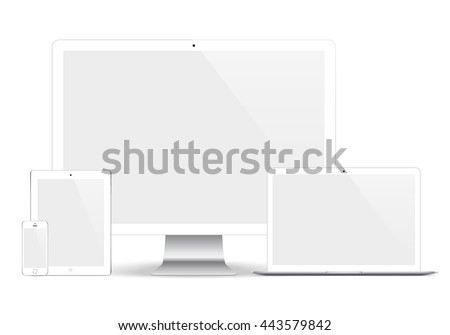 mockup gadget and device white color with blank screen isolated on the grey background. stock vector illustration eps10