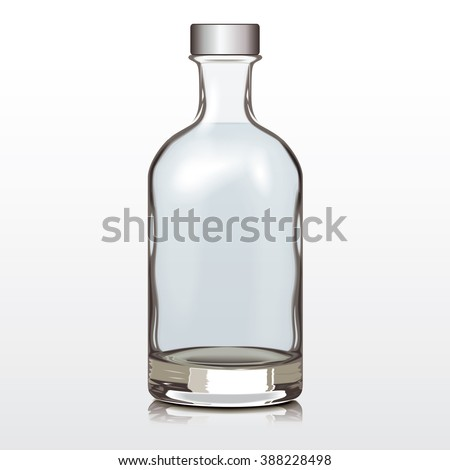mockup glass bottle silver cap