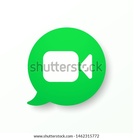 Mockup green button video call. Video camera icon. Video message web icon template, ui, app. Social network concept. Vector illustration. EPS 10