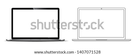 mockup in front of a black notebook that looks realistic With a transparent blank screen.