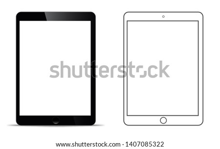 mockup in front of a black tablet that looks realistic With a transparent blank screen.