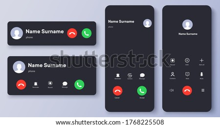 Mockup incoming call, voicemail screen, smartphone interface vector template. Flat UI, UX for application. New Call screen template. Web app display template. Vector illustration