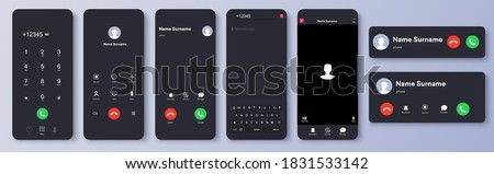 Mockup incoming call, voicemail screen, smartphone interface vector template. Flat UI, UX for application. New Call screen template. Web app display template. Realistic mobile mockup. Vector