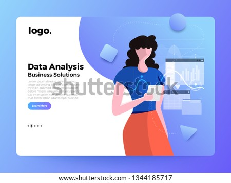 Mockup landing page website flat concept people of business solution. Creative solution provider. Vector illustrations.