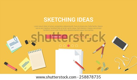 Mockup modern flat design vector illustration concept creative idea sketching process. Notebook sketchbook mobile smartphone stickers stationery. Web banner promotional materials template collection.