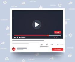 Mockup multimedia player. Streaming. Web window template social media live stream. Desktop web video player online. Social media Youtube concept. Vector illustration. EPS 10
