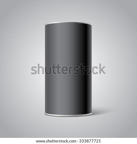 mockup of black matte blank tin