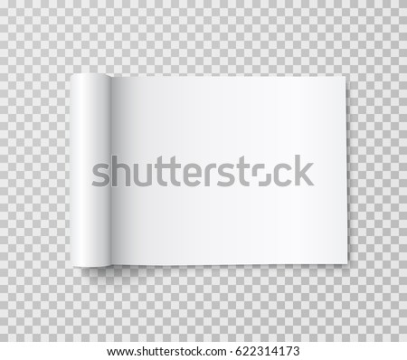 Mockup of blank open landscape magazine with rolled white paper pages on transparent background.  Empty booklet, catalog template mock up. Vector book, brochure with curl back sheets for your design
