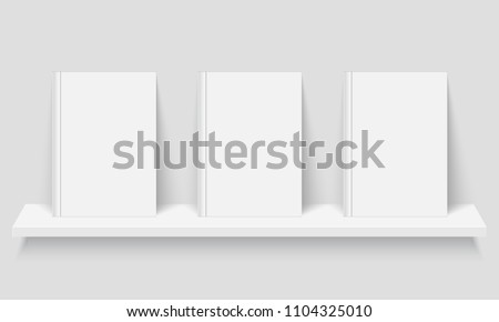 Mockup of books with empty covers on bookshelf. with empty covers on bookshelf. Realistic vector illustration.