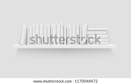 Mockup of bookshelf with blank books. Realistic vector illustration.